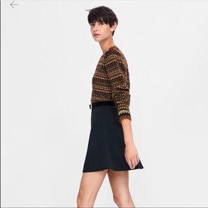 Zara navy flared mini skirt. NWT